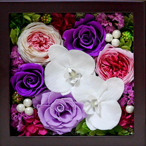 プリザーブドフラワー 紫バラ 胡蝶蘭