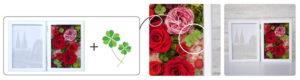四つ葉のクローバーと赤バラの写真立て