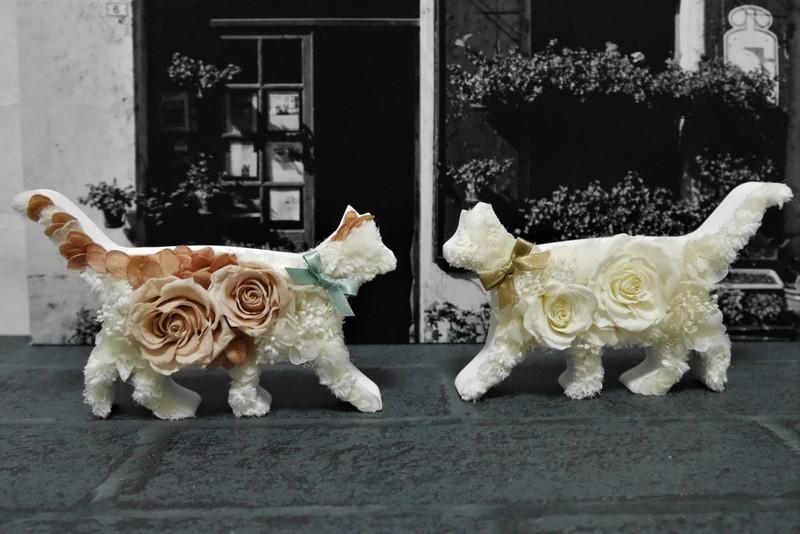 猫のフラワーオブジェ